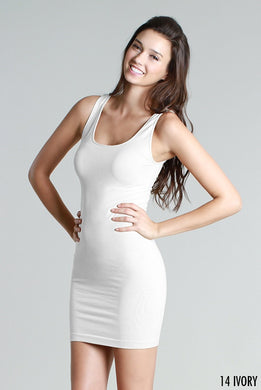 NS5178D Wide Strap Long Tank Dress Ivory