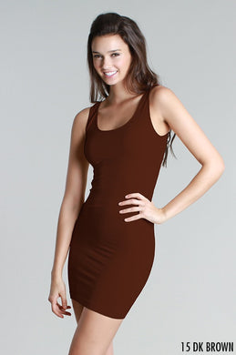 NS5178D Wide Strap Long Tank Dress Dark Brown