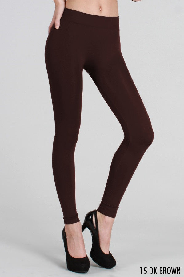 NS5182 Solid Thick Leggings Dark Brown