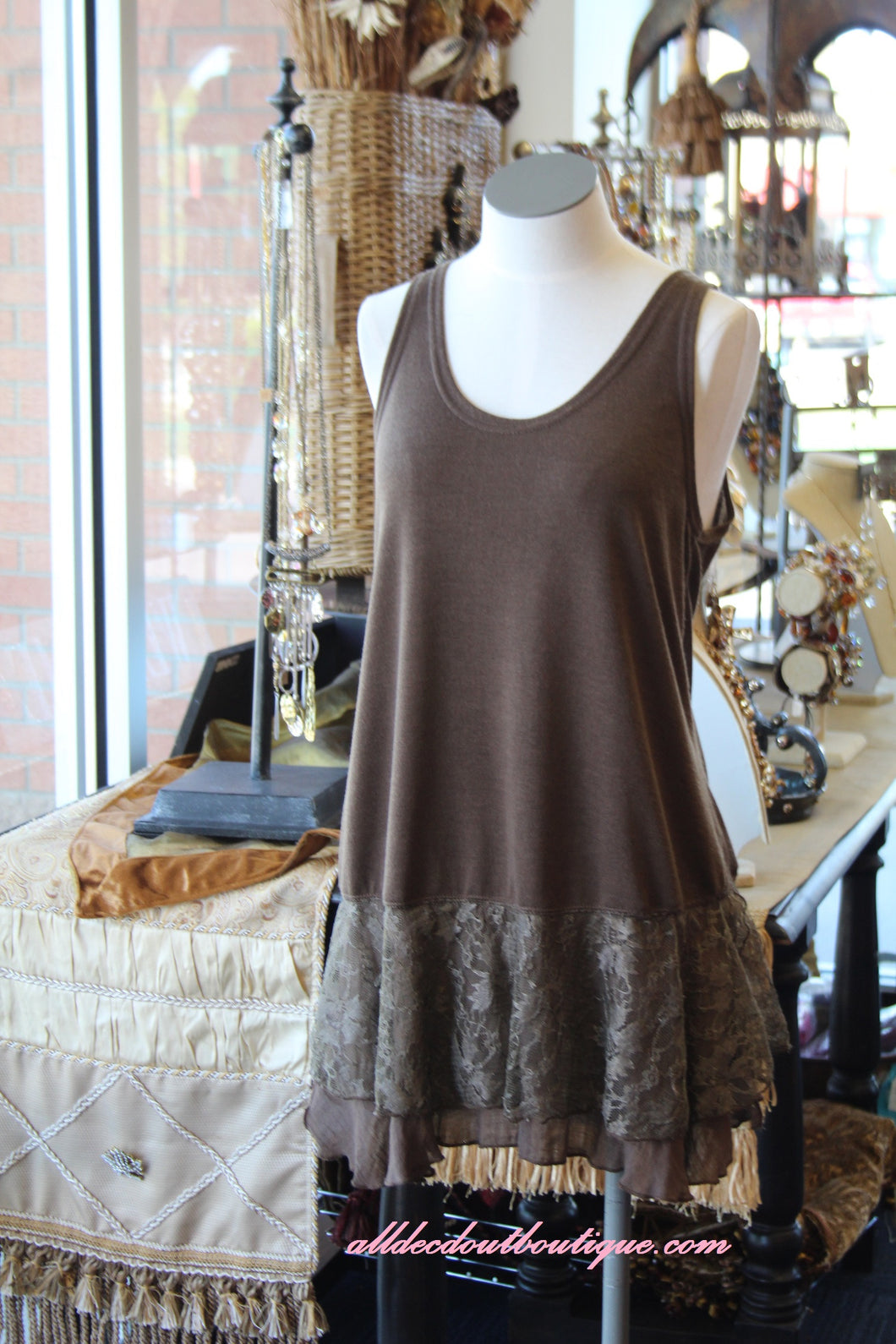 Pretty Angel | Lace Slip Dress Coffee
