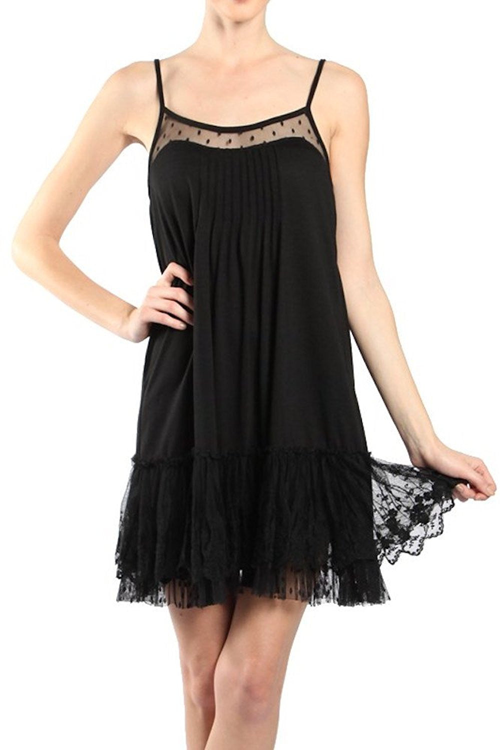 Ryu | Lace Slip Dress Black