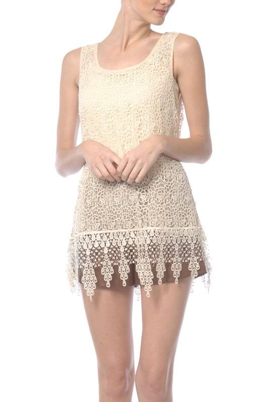 Ryu | Sleeveless Lace Top With Fringe Cream