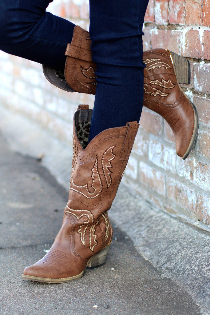 Very Volatile | Raspy Cowgirl Boots Taupe - All Decd Out