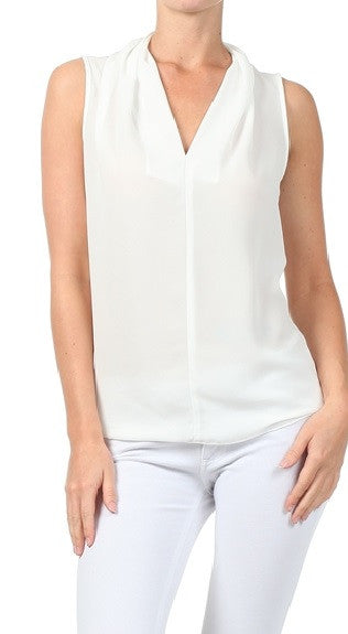 Renee C. | White Ruffle Sheer Tank Blouse