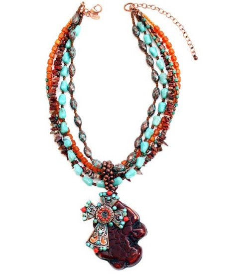 Treska | Multistrand Beaded Pendant Necklace - All Decd Out