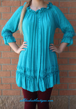 Urban Mango | Turquoise with Ruffle Trimming Blouse