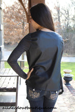 Timing | Cardigan with Leather Back Charcoal
