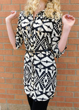 Timing Button Up Tribal Print Dress Black & Cream | All Dec'd Out