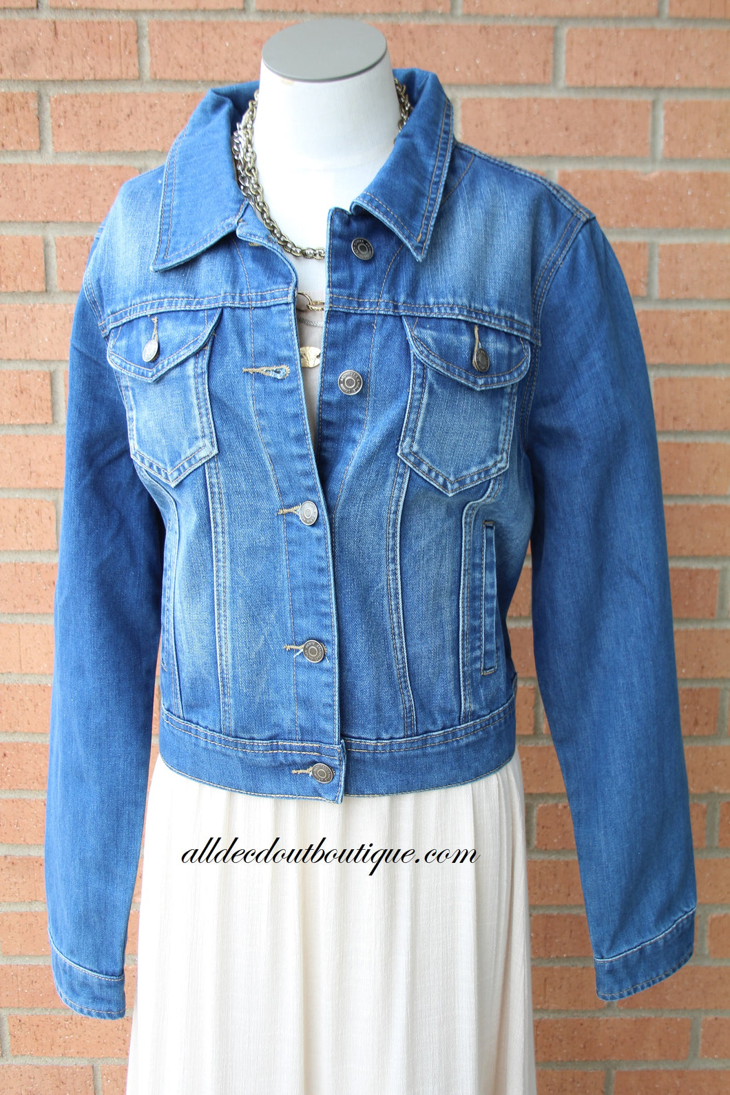 Turquoise Haven | Medium Wash Denim Jacket