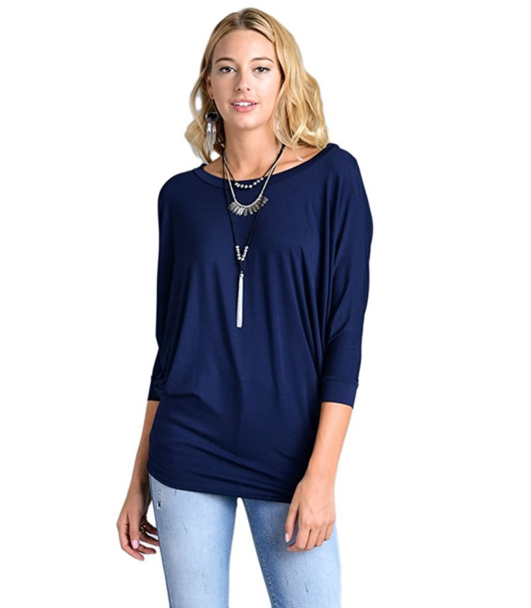 Vanilla Bay | Dolman 3/4 Sleeve Top Navy