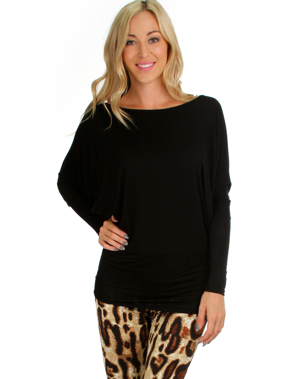 Vanilla Bay | Dolman Long Sleeve Top Black