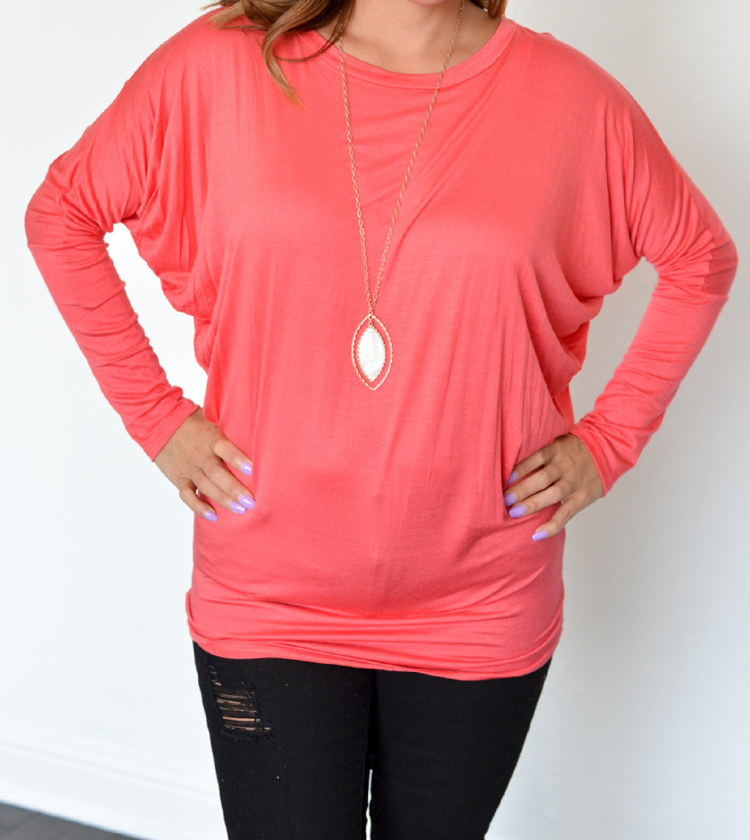 Vanilla Bay | Dolman Long Sleeve Top Coral