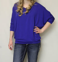 Vanilla Bay | Dolman 3/4 Sleeve Top Royal Blue