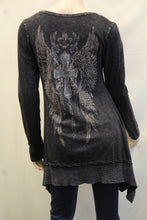 Vocal | Grey Tunic Top with Faith Cross & Wings