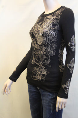 Vocal | Thermal Embellished Long Sleeve with Fleur De Lis Top