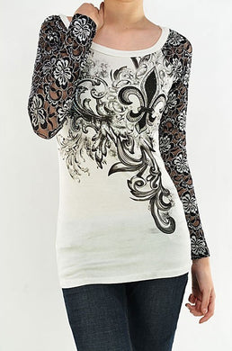 Vocal | White and Black Lace Long Sleeve with Embellished Fleur De Lis Top