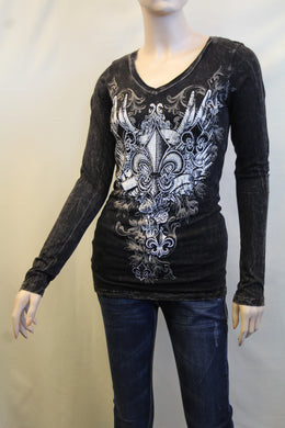 Vocal | Embellished Long Sleeve with Fleur De Lis Top