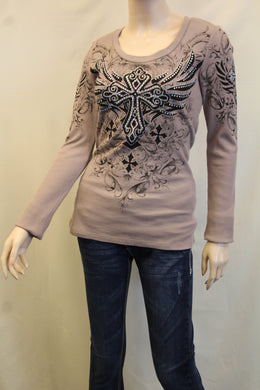 Vocal | Embellished Long Sleeve with Cross Top