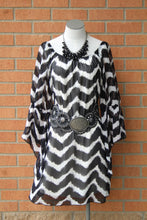 Yahada | On or Off the Shoulder Chevron Dress Black