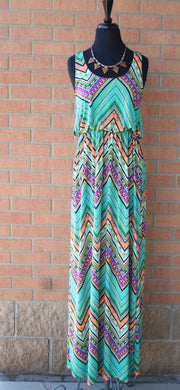 Yahada | Tribal Maxi Dress Razorback Mint
