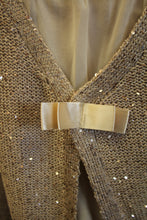 Yahada | Sequin Knit Sweater with Bow Beige