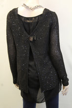 Yahada | Sequin Knit Sweater with  Bow Black