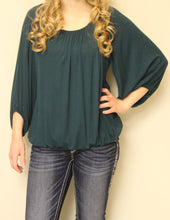Yahada | Solid 3/4 Bishop Sleeve Top Teal