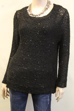 Yahada | Sequin Knit Sweater with Pleated Back Black
