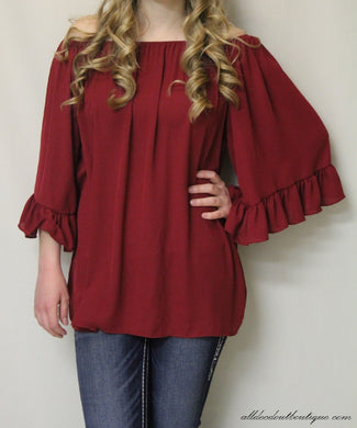 Yahada | Off The Shoulder Tunic Burgundy