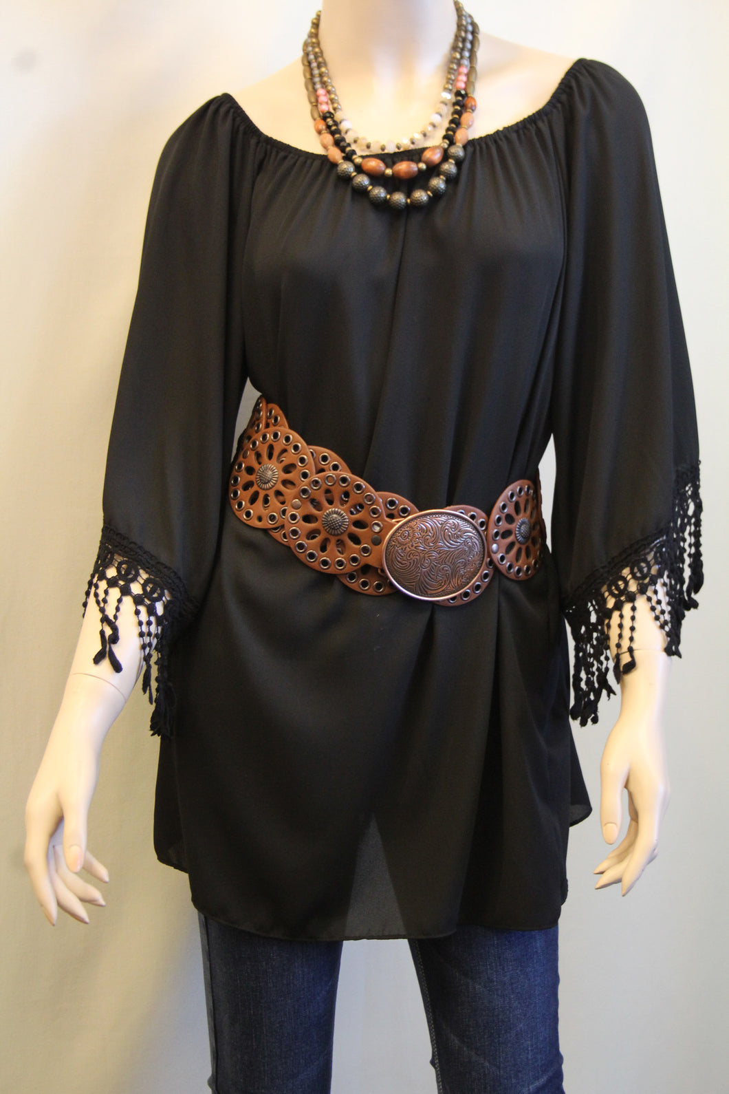 Yahada | Off The Shoulder Tunic with Crochet Fringe Black