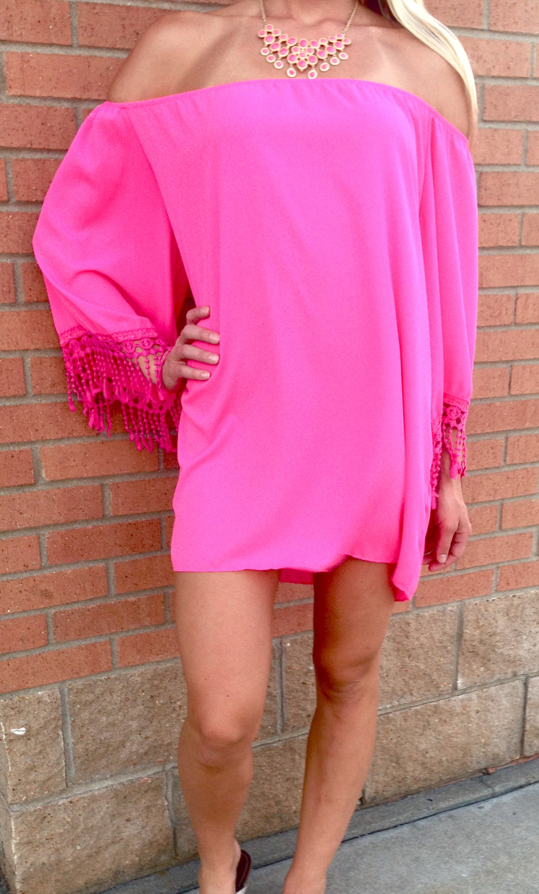 Yahada | Off The Shoulder Tunic with Crochet Fringe Fuchsia