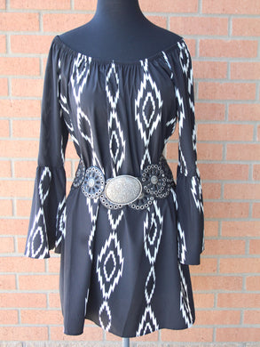 Yahada | Black & White Bell Sleeve Dress