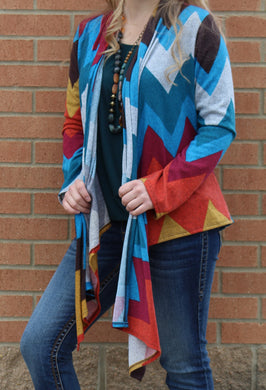 Yahada | Multi Color Chevron  Cardigan