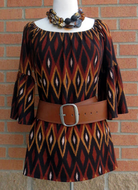 Yahada | Printed Tunic Top with Bell Sleeves Brown