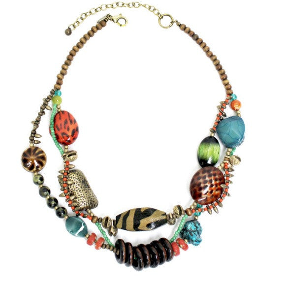 Treska | Short Two Row Chunky Necklace - All Decd Out