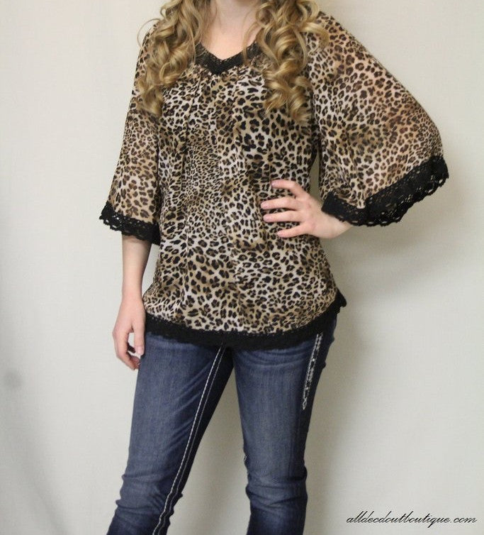 By Together | Cheetah Print Top with Black Crochet Trimming