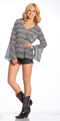 2 Tee Couture | Aztec Print Top Black - All Decd Out