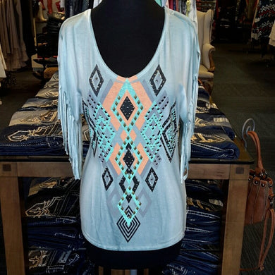 Vocal | Aztec Mint/Multi Swarovski Crystal Blouse - All Decd Out