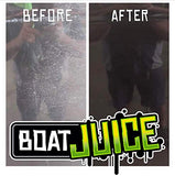 Boat Juice Boat Cleaner Before and After - Exterior Water Spot Remover, Sealant, Protector