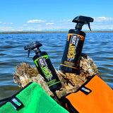 Boat Juice Exterior Cleaner Ceramic Sealant and Interior Vinyl Carpet Foam Plastic Cleaner - Bundle with Microfiber Towels
