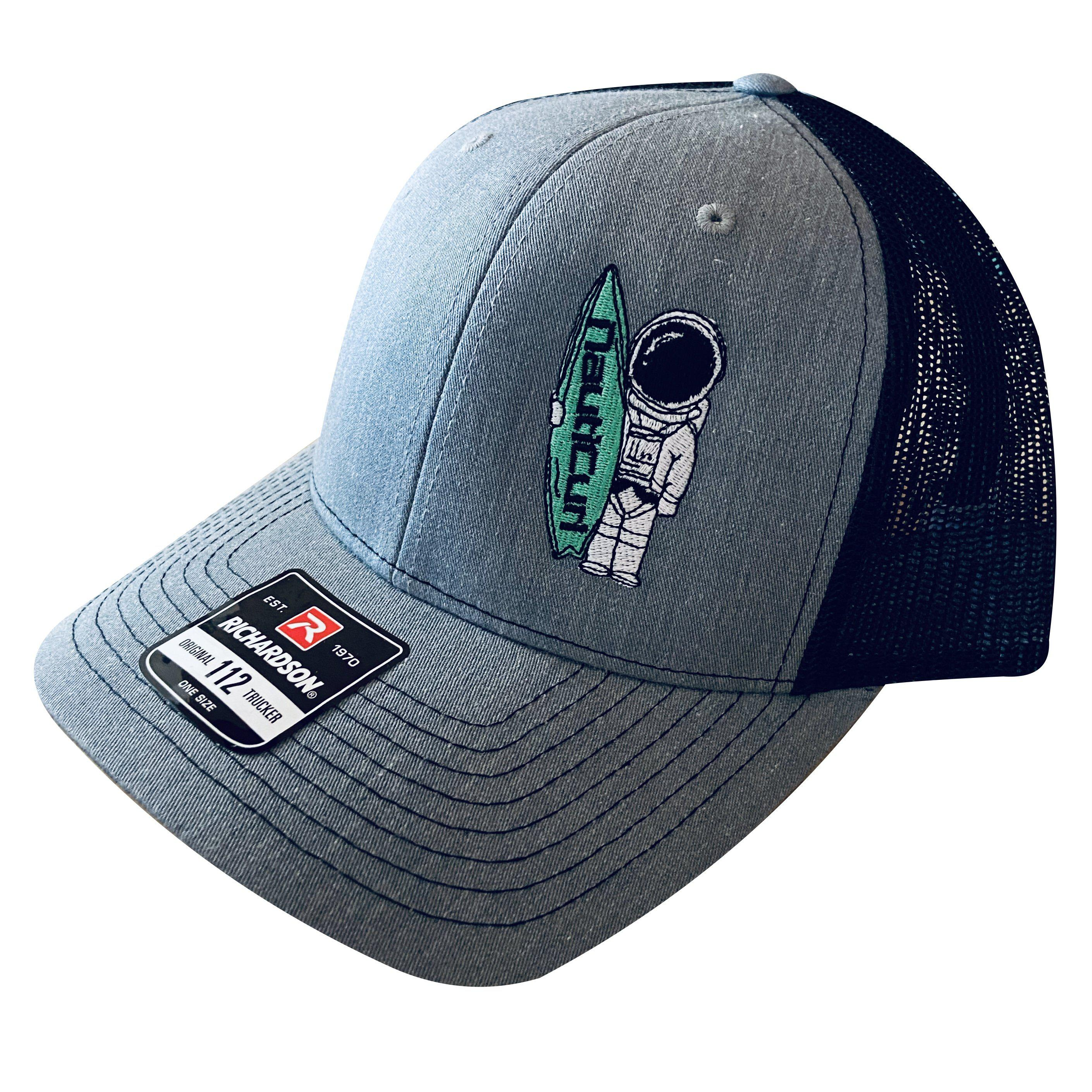 Astroknot NautiCurl Surf Boat Snap Back Mesh Hat - Gray and Black Richardson