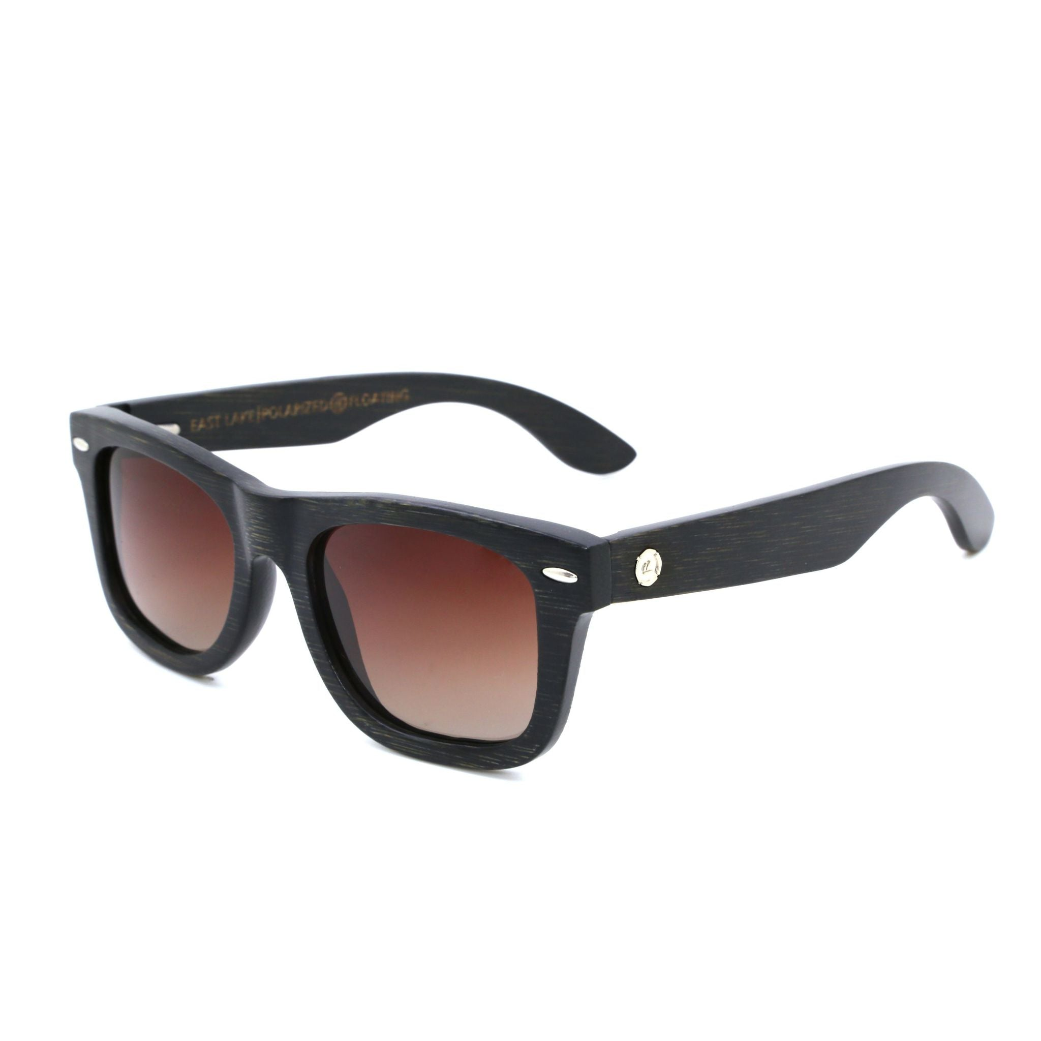 Black Wood Sunglasses - Bamboo Wood Grain Frame Polarized UV Lenses Wayfarer SBOJI NautiCurl Shades Eyewear