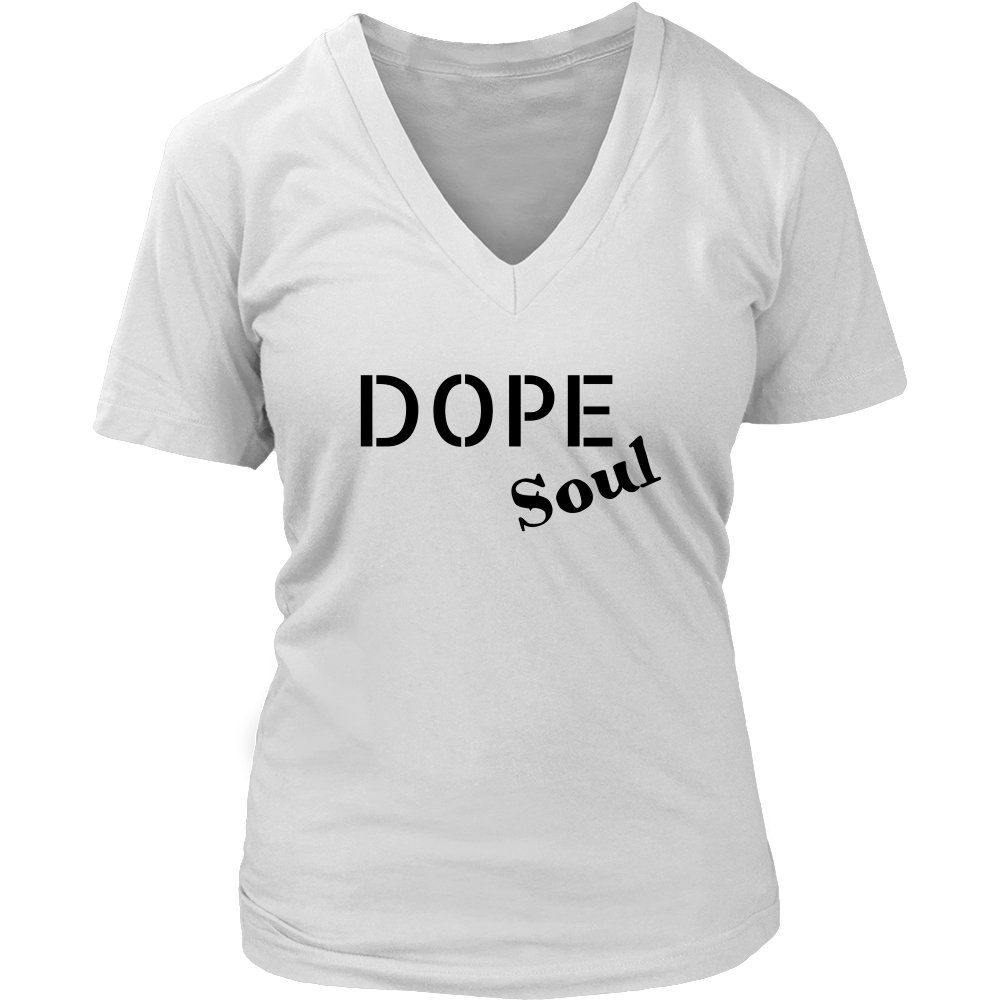 (Dope Soul) Womens V-Neck T-shirt