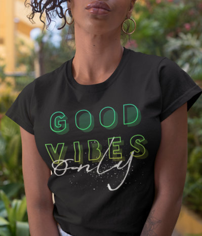 (Good Vibes Only III) Women's Slim Fit T-Shirt