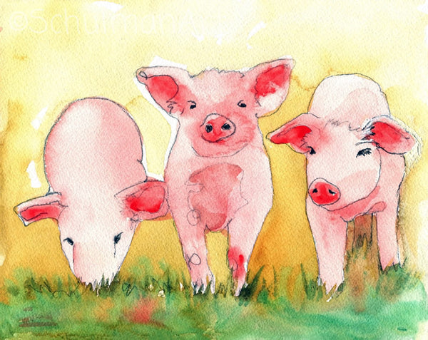 Pigs Watercolor, Fine Art Print | Pig Art | Pig Painting | Farm Animal Art