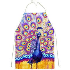 Radiant Peacock Kitchen Apron for Women