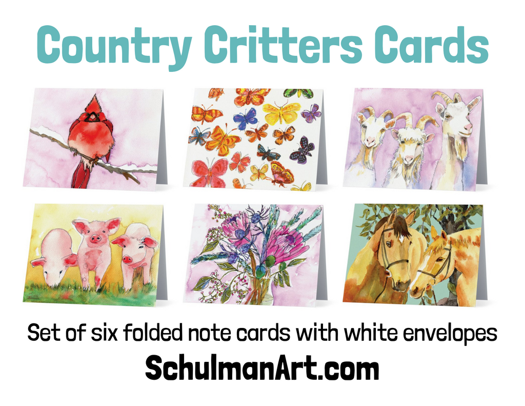 Country Critters Note Cards - Set II