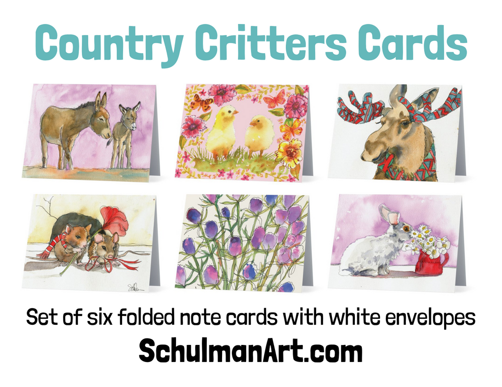 Country Critters Note Cards - Set I