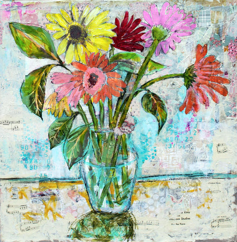 New World Daisies, Original Mixed Media Art 30x30""
