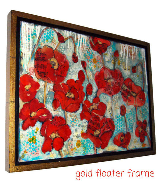Glowing Red Poppies, Original Mixed Media Art